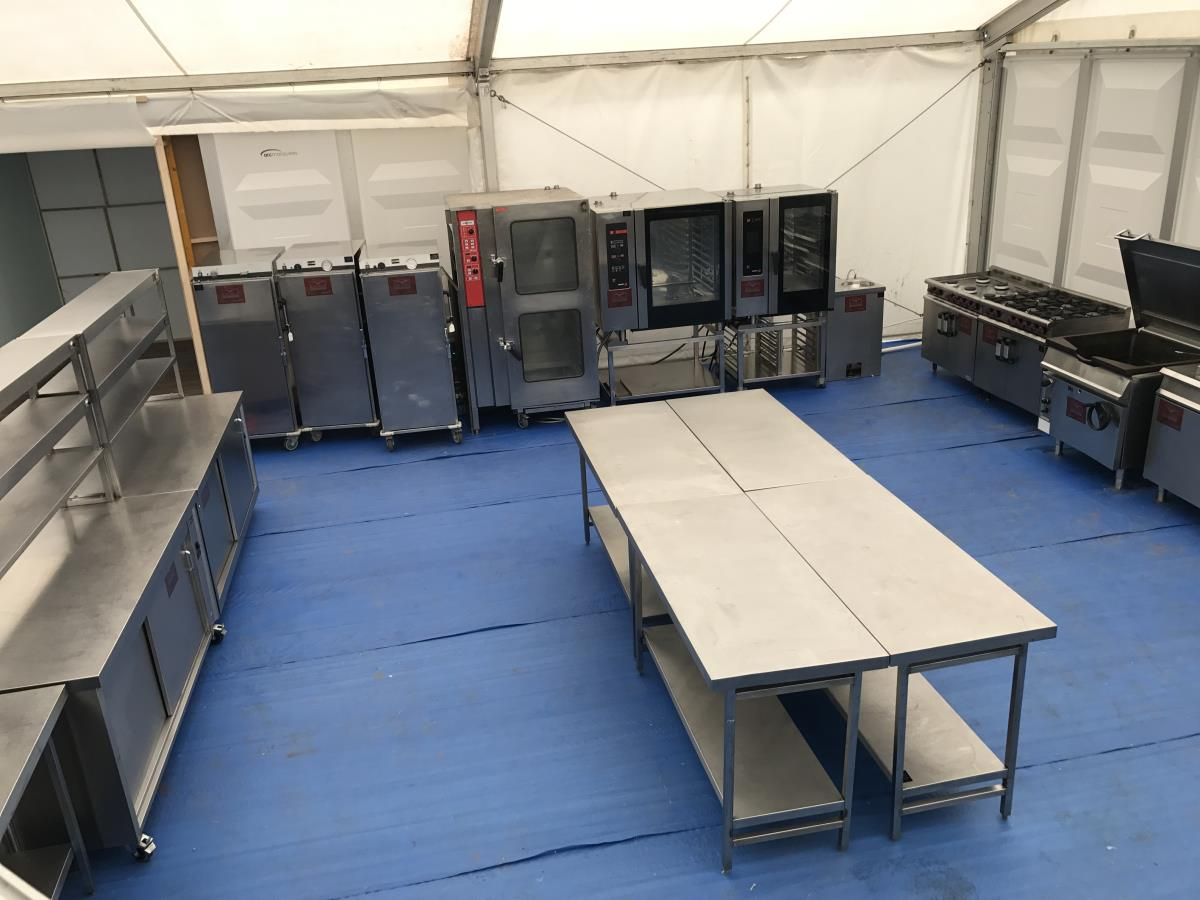 Part of a larger marquee kitchen installation providing 2,500 covers daily at a major sports event.